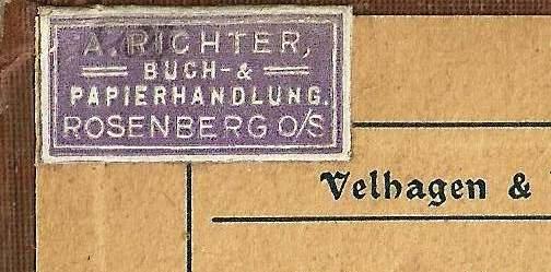 (czyli: A. Richter Buch & Papier-Handlungung (czyli: A. Richter Buch & Papier-Handlungung Rosenberg O/S.).Rosenberg O/S.).