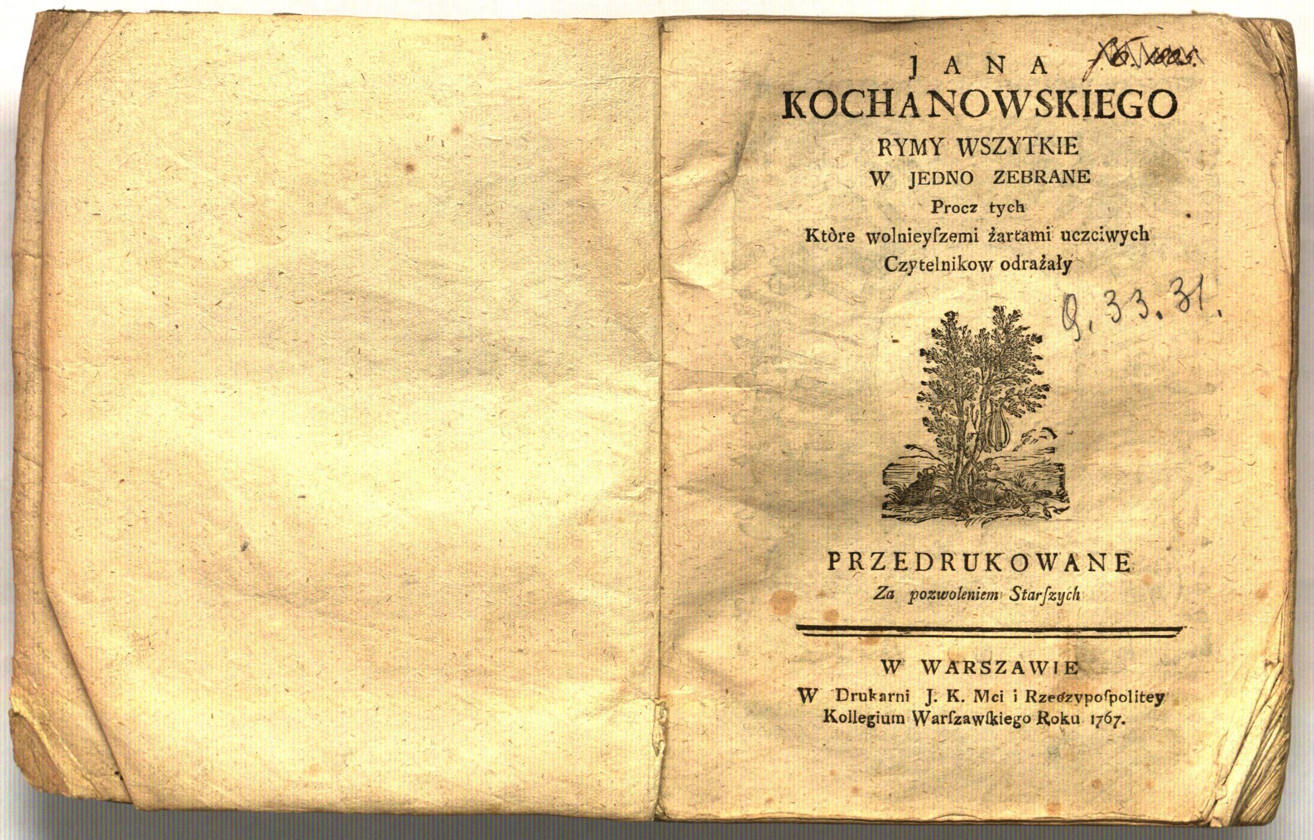 Jana Kochanowskiego Rymy wszystkie w jedno zebrane.